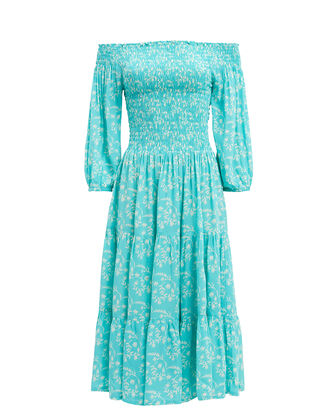 Joni Off Shoulder Midi Dress, BRIGHT BLUE/FLORAL, hi-res
