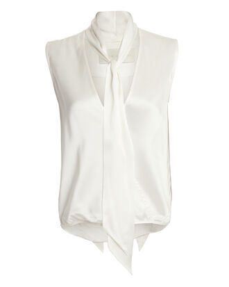 Satin Tie Neck Blouse, IVORY, hi-res