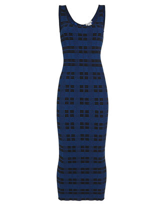 Checkered Scoop Neck Midi Dress, BLUE/CHECK, hi-res