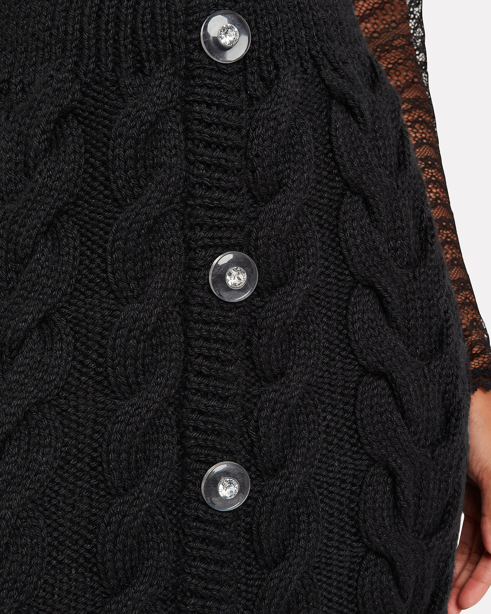 Cable Knit Button Front Skirt, BLACK, hi-res