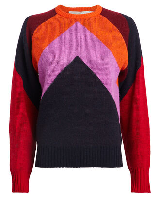 Intarsia Chevron Lambswool Sweater, NAVY/RED, hi-res