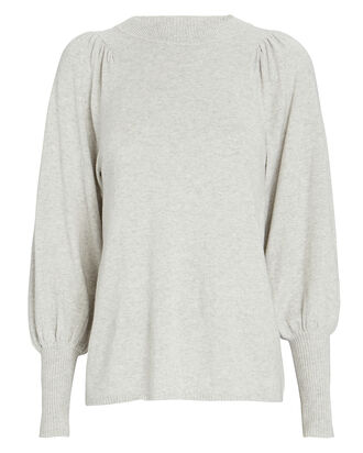 Dewi Puff Sleeve Cotton-Cashmere Sweater, LIGHT GREY, hi-res