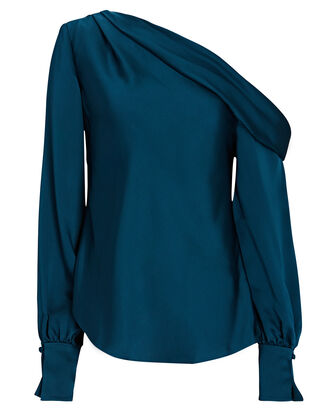 Elise Satin One-Shoulder Blouse, DARK BLUE, hi-res