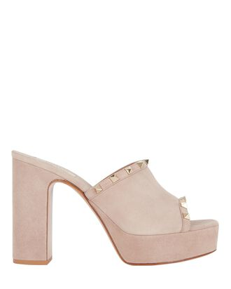 Rockstud Platform Suede Slide Sandals, BLUSH, hi-res