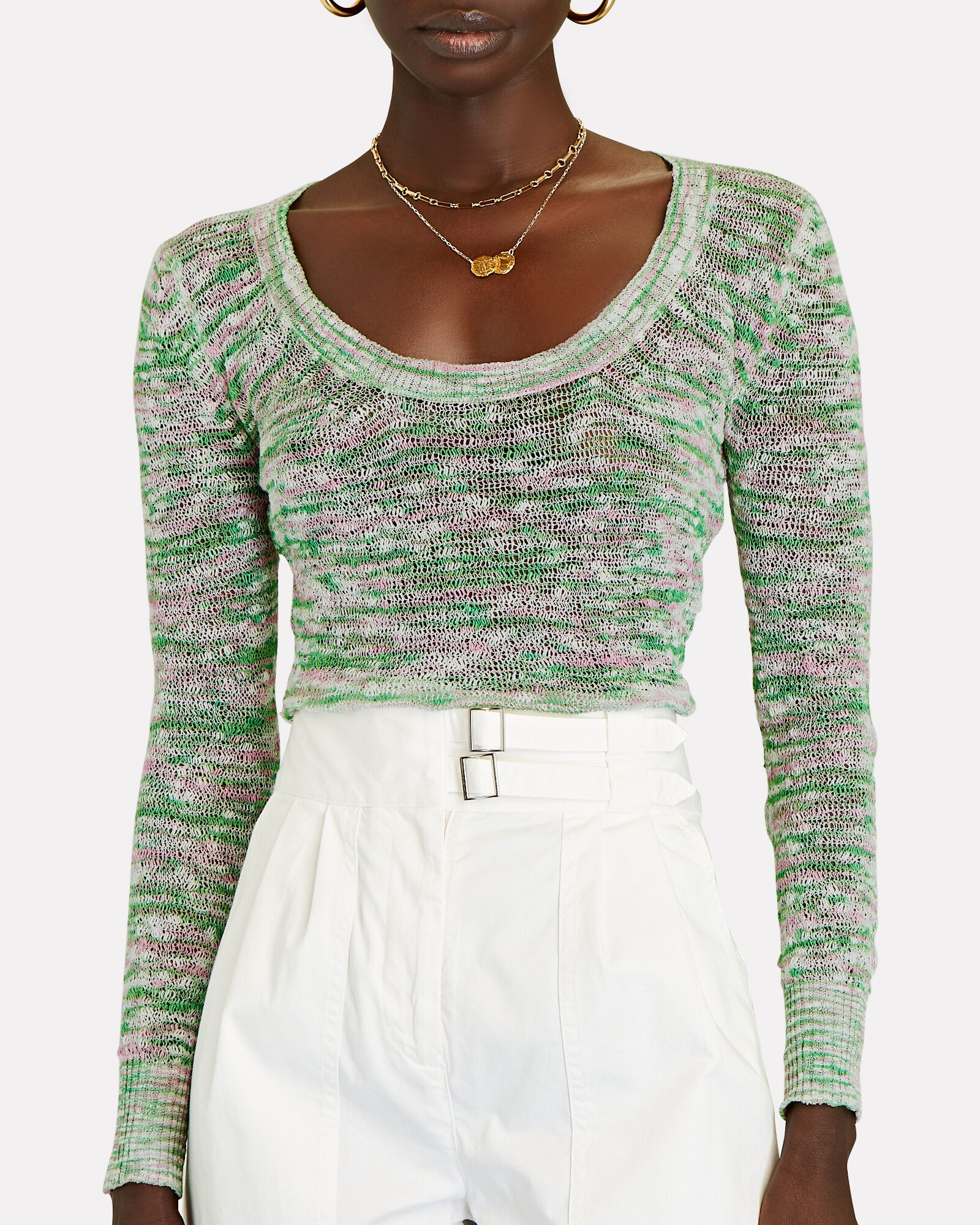 Space-Dyed Cotton Knit Top, GREEN-LT, hi-res