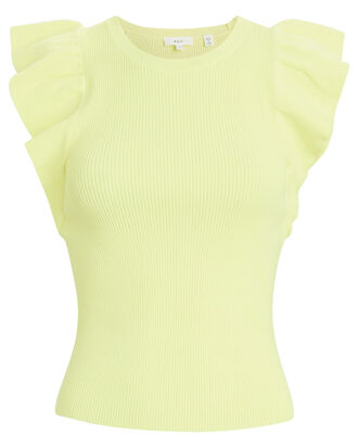 Holly Ruffled Tank Top, YELLOW, hi-res