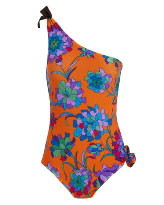 Goddess One Shoulder Floral Print Swimsuit, MULTI, hi-res