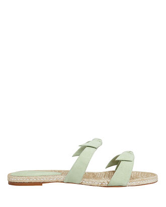 Clarita Braided Flat Sandals, GREEN-LT, hi-res