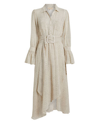 Belted Georgette Shirt Dress, CREAM/POLKA DOT, hi-res