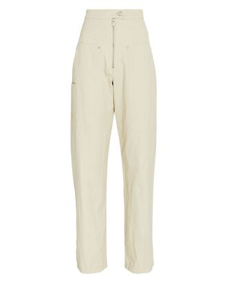 Phil High-Rise Cotton Trousers, IVORY, hi-res