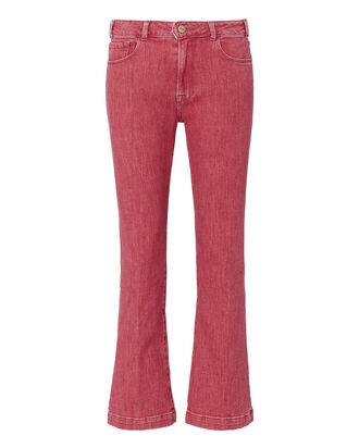 Le Color Cropped Mini Boot Jeans, RED, hi-res