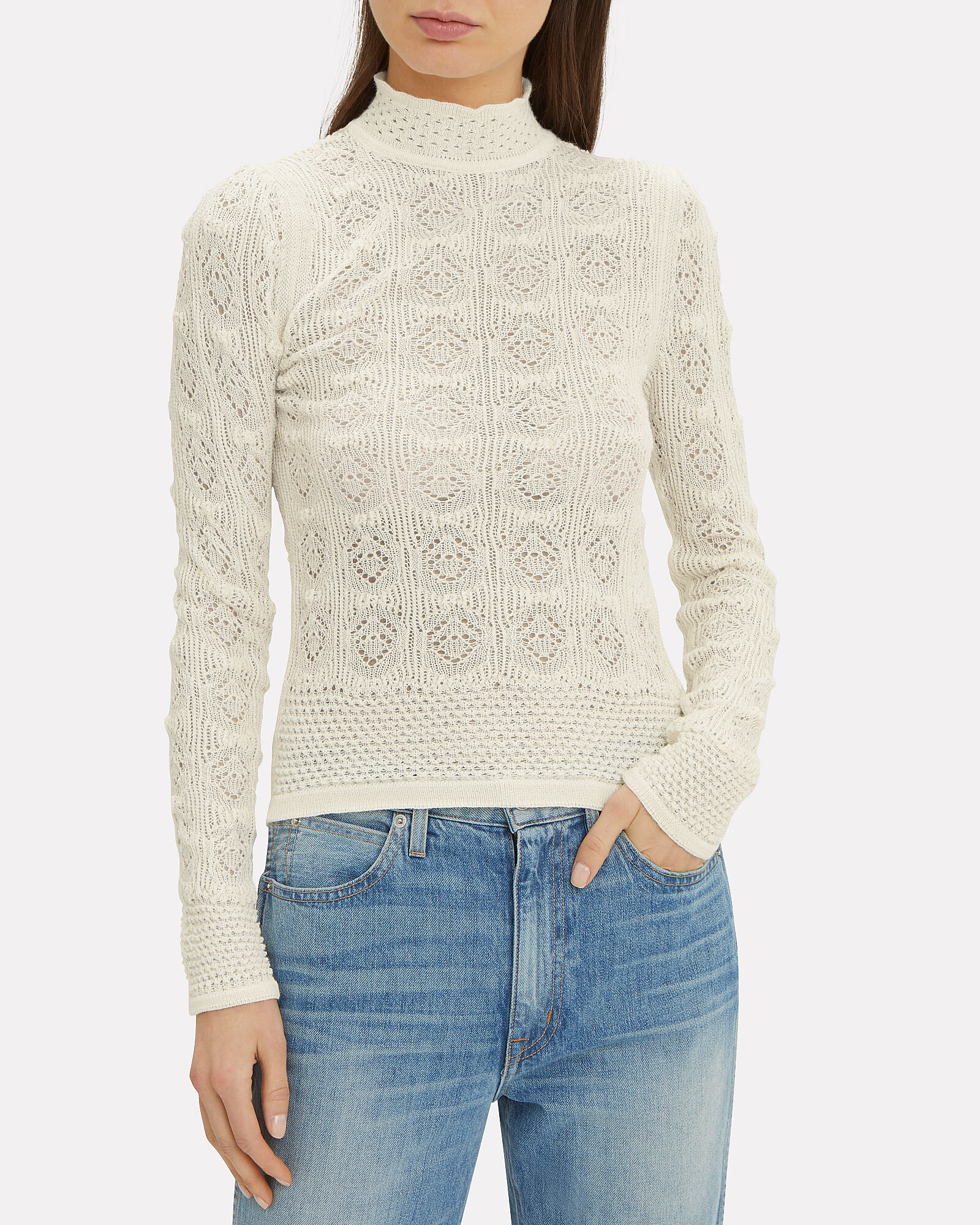 Open Weave Turtleneck, WHITE, hi-res
