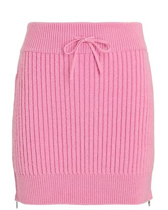 Rib Knit Mini Skirt, PINK, hi-res