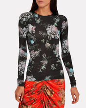 Ida Floral Slash Sleeve Top, BLACK/FLORAL, hi-res
