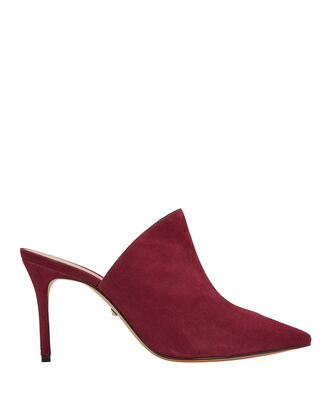 Bardot Red Suede Mules, RED-DRK, hi-res