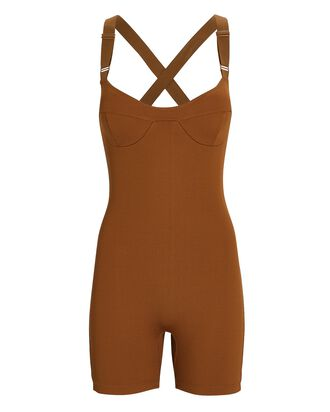 Kizzy Rib Knit Playsuit, BROWN, hi-res