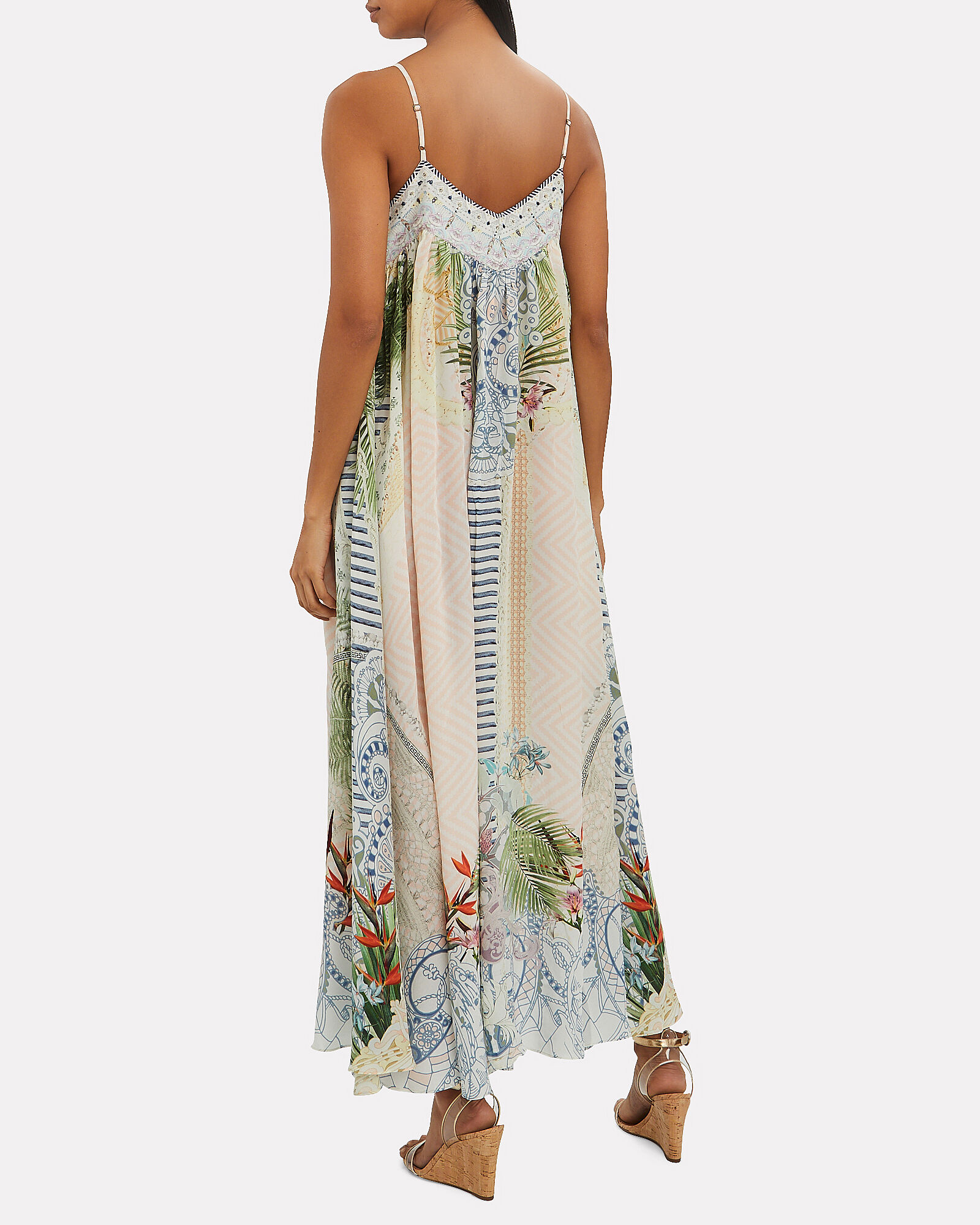 Silk Lace-Up Maxi Dress, MULTI, hi-res
