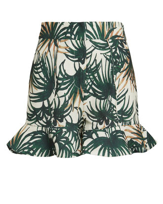 Palm Print Ruffle Hem Shorts, MULTI, hi-res