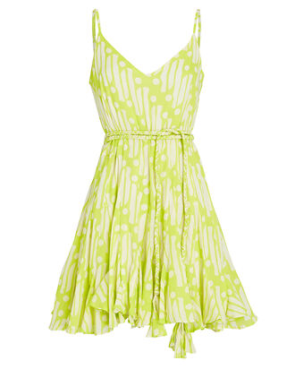 Casey Printed Cotton Mini Dress, NEON GREEN, hi-res