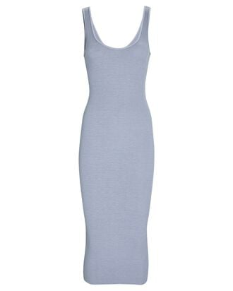 Silk Rib Tank Midi Dress, LIGHT BLUE, hi-res