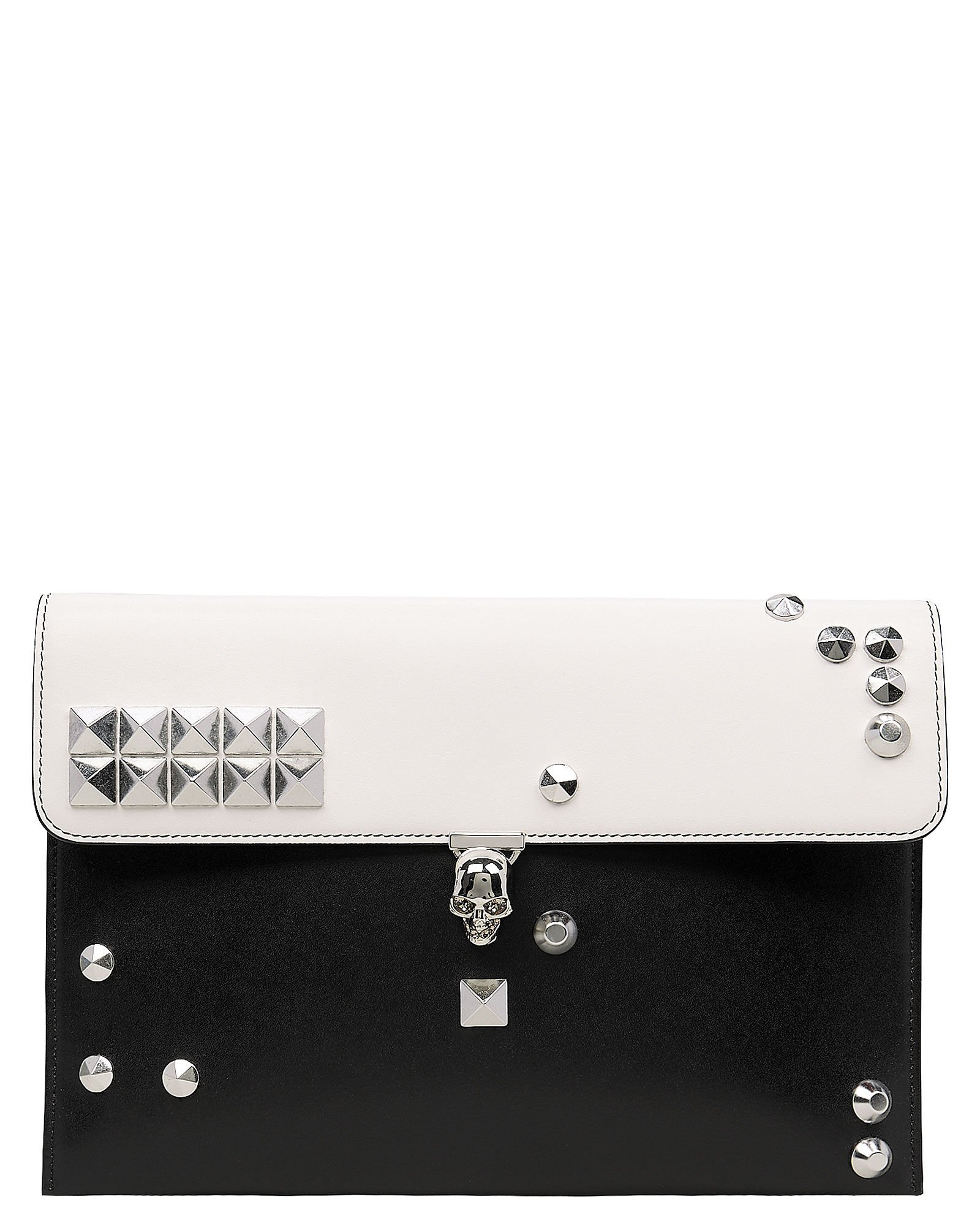 Skull Two-Tone Envelope Leather Clutch, BLK/WHT, hi-res