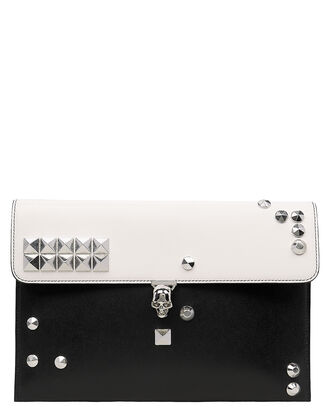 Skull Two-Tone Envelope Leather Clutch, BLACK/WHITE, hi-res