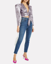 Close Call Lamé Crop Top, PURPLE-LT, hi-res