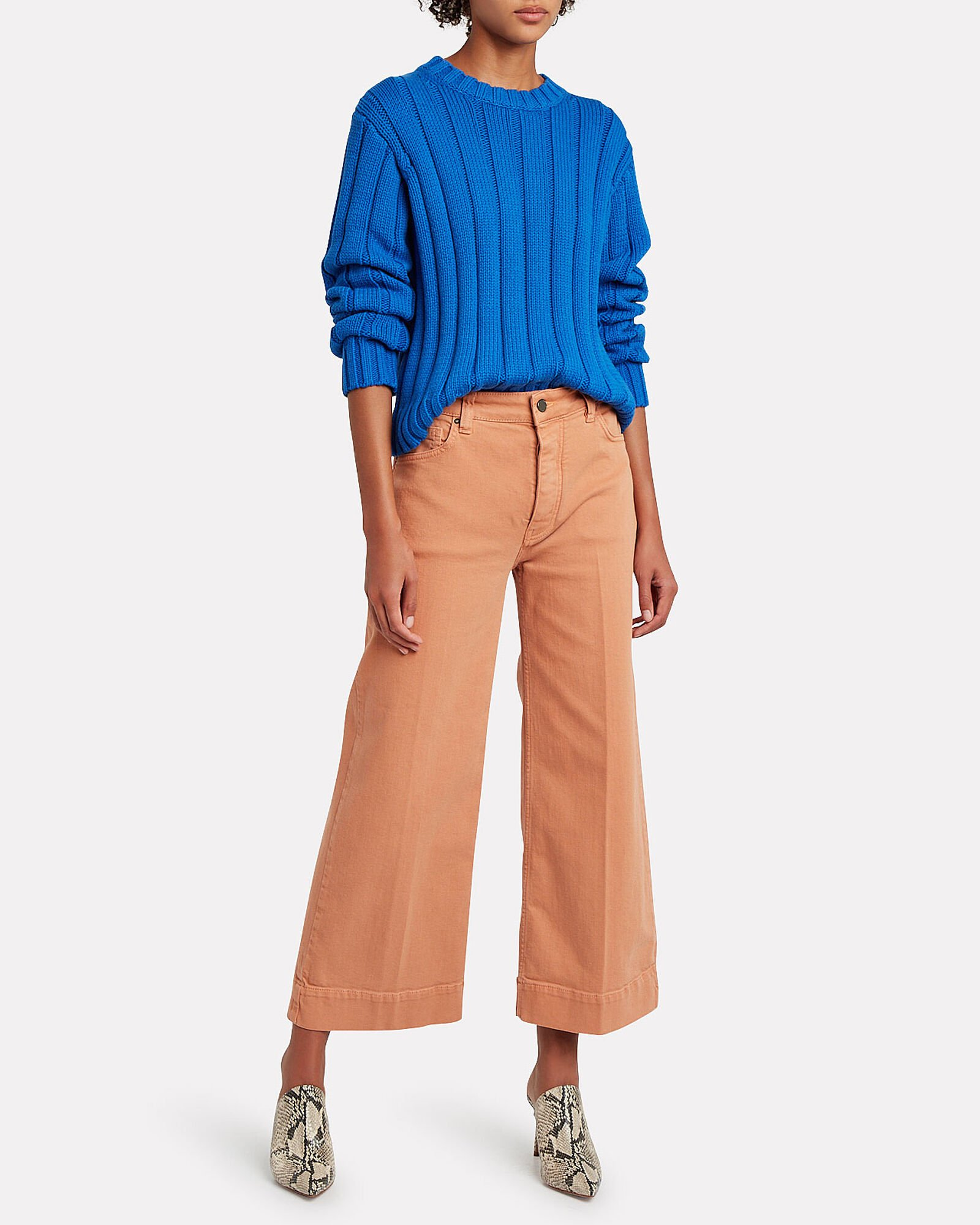 Iola Rib Knit Sweater, BLUE-MED, hi-res
