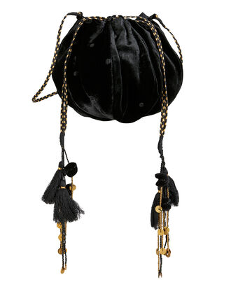 Black Velvet Tassel Bag, BLACK, hi-res