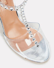PVC Studded Shine Heeled Sandals, SILVER, hi-res