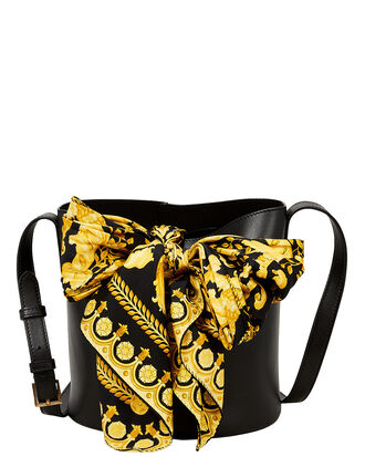 Printed Scarf Bucket Bag, BLACK, hi-res