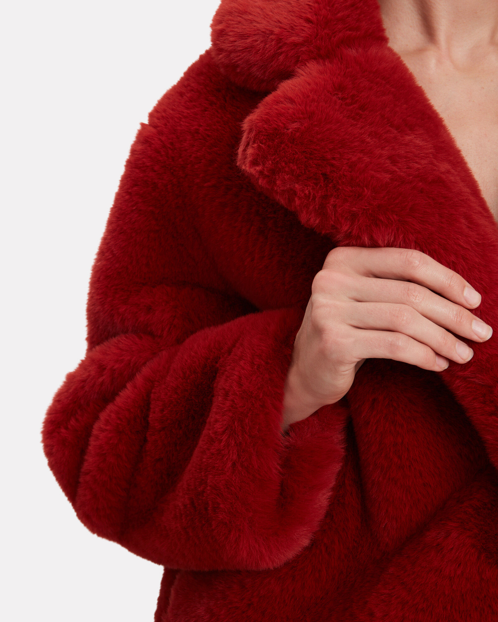 Manon Faux Fur Coat, RED, hi-res