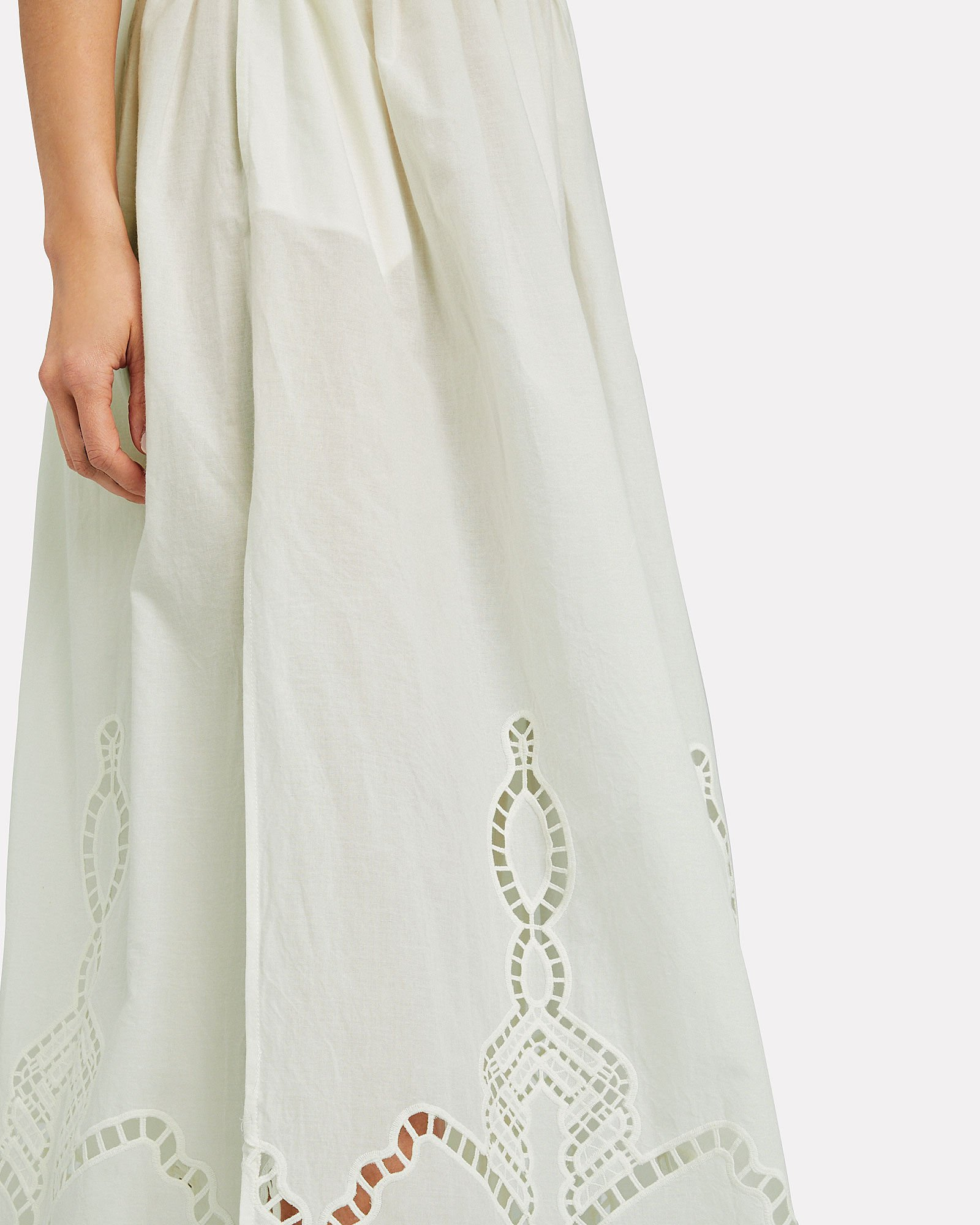 Owen Cotton Midi Skirt, IVORY, hi-res