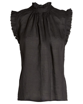 Ruffled Sleeveless Blouse, BLACK, hi-res