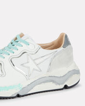 Running Sole Leather Sneakers, WHITE, hi-res