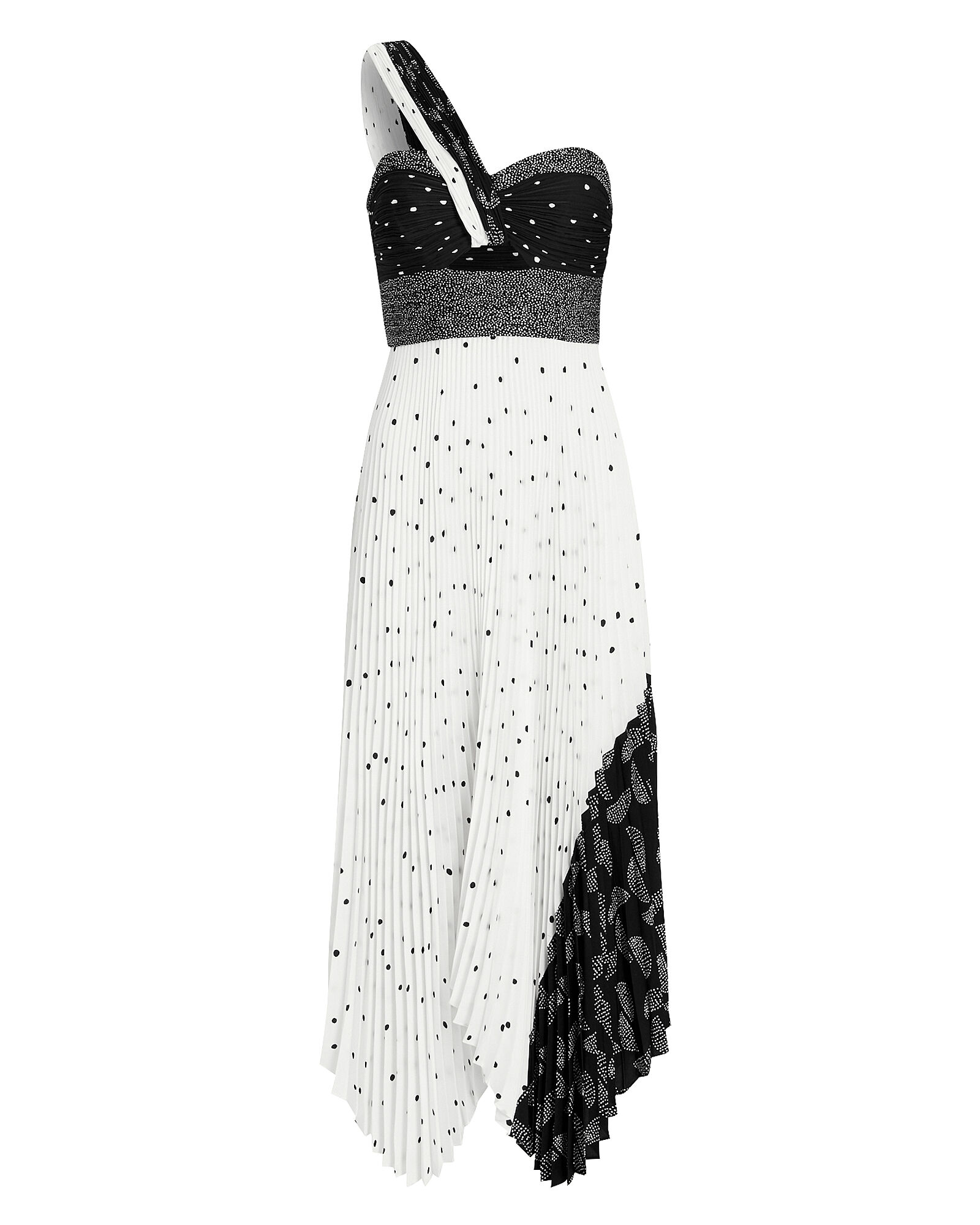 Aurora Patchwork One Shoulder Dress, BLK/WHT, hi-res