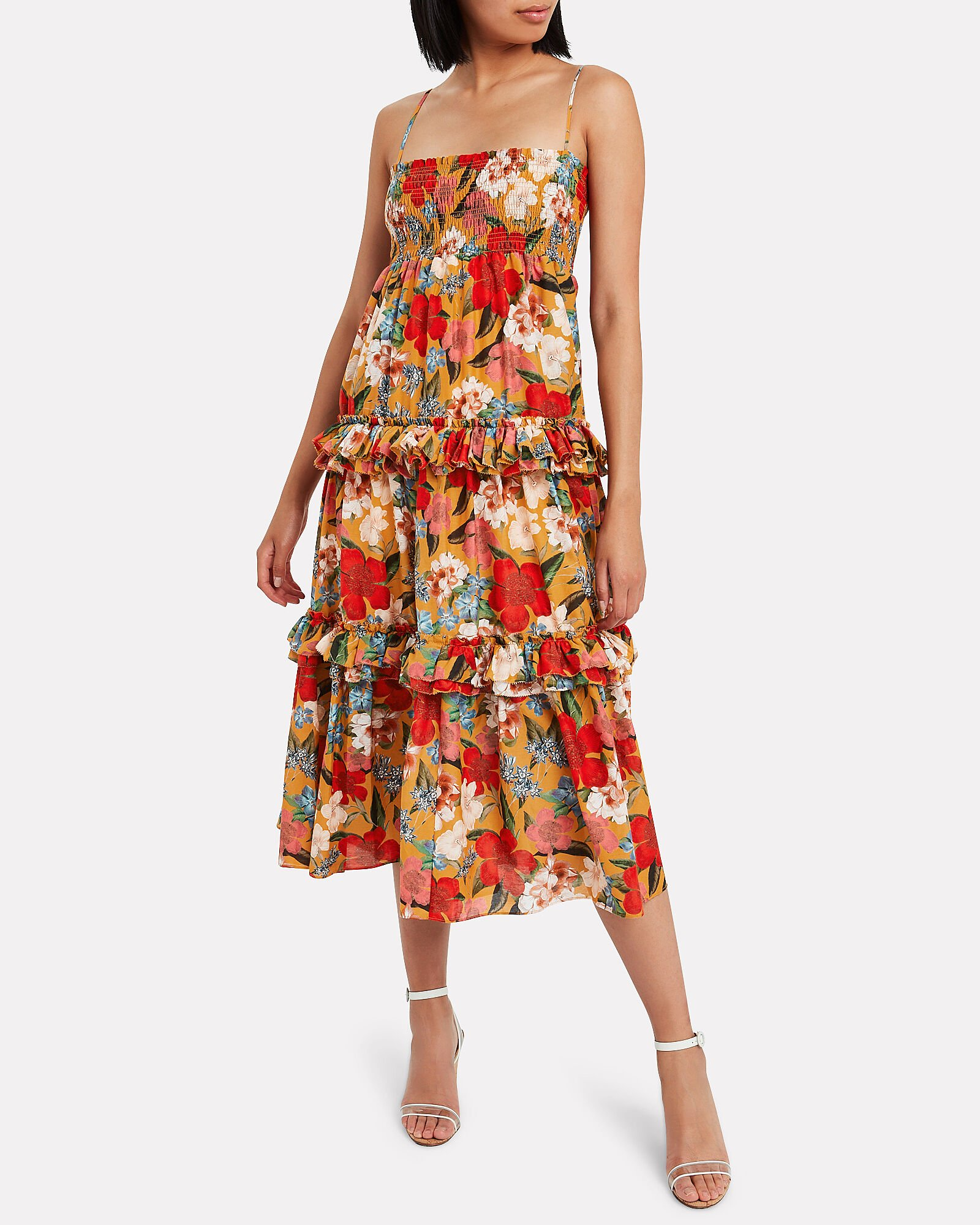 Smocked Floral Prairie Dress, YELLOW/RED, hi-res