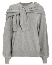 Wool & Cashmere Tie Shoulder Sweater, HEATHER GREY, hi-res