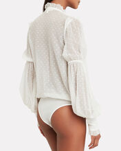 Embroidered Silk Chiffon Bodysuit, IVORY, hi-res