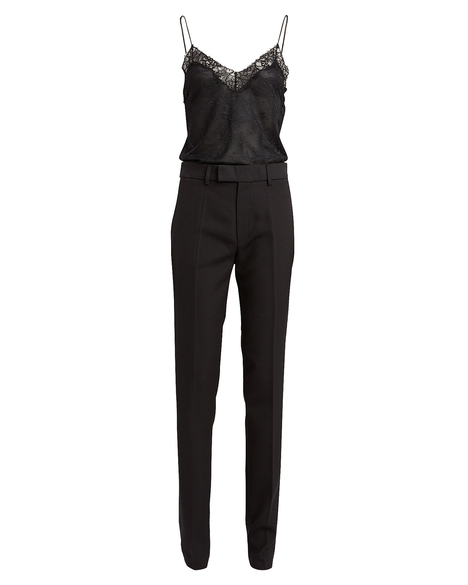 Lace Tailored Jumpsuit, BLACK, hi-res