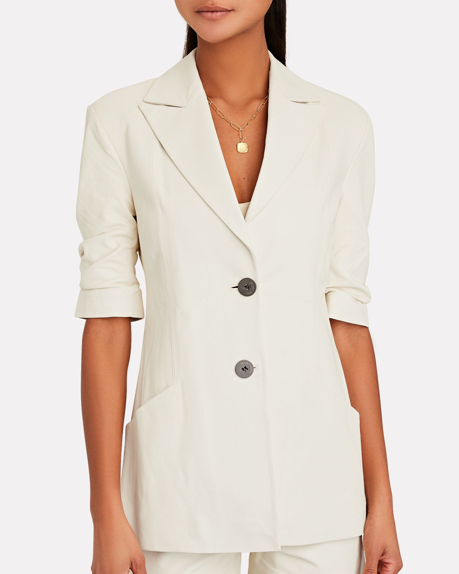 Fitted Leather Blazer, IVORY, hi-res