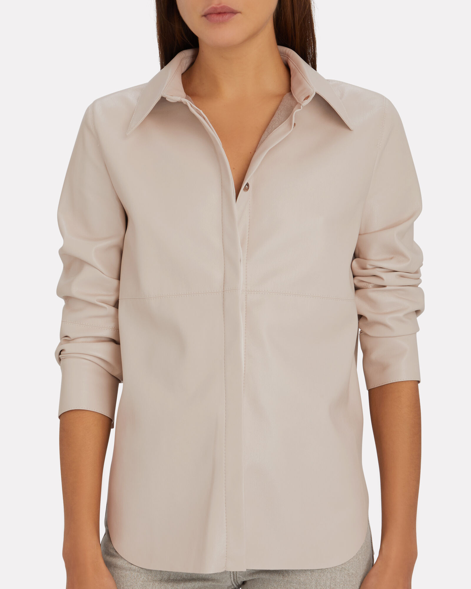 Naum Vegan Leather Shirt, IVORY, hi-res