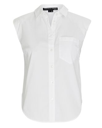 Kat Padded Shoulder Button-Down Shirt, WHITE, hi-res