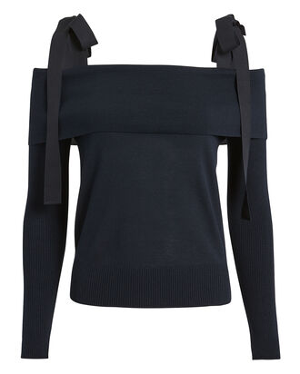 Tie Shoulder Sweater, NAVY, hi-res