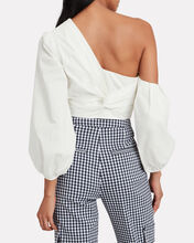 Ale One Shoulder Crop Top, WHITE, hi-res