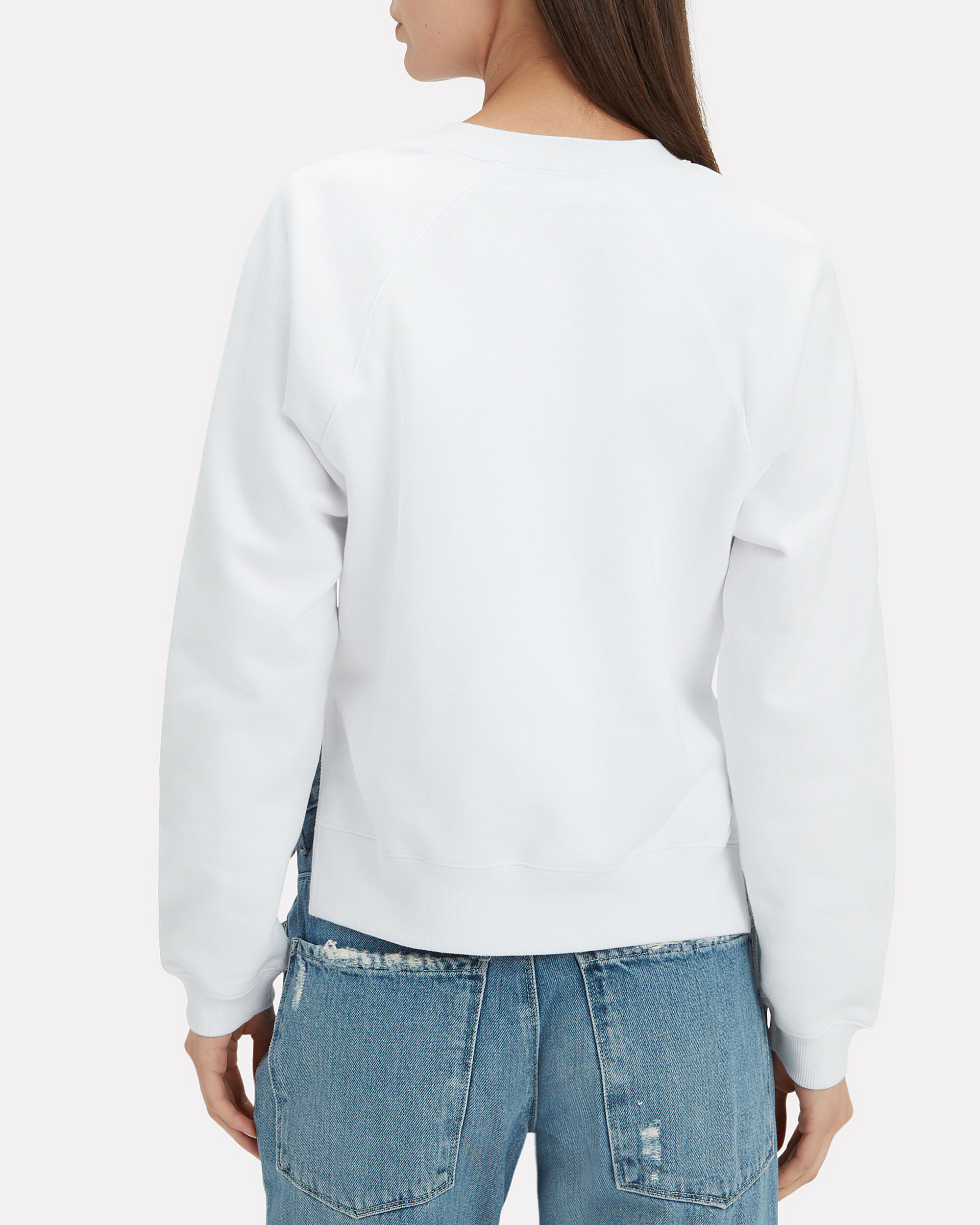 Shrunken White Sweatshirt, WHITE, hi-res