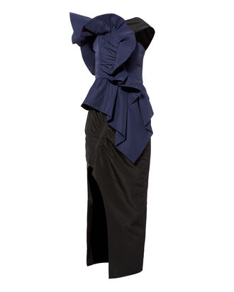 Asymmetric Ruffle Midi Dress, NAVY, hi-res