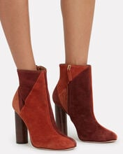 Carin Patchwork Suede Booties, BROWN, hi-res