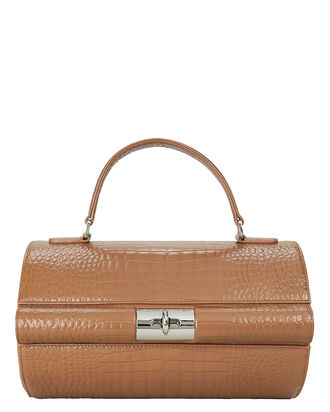 Richie Croc-Embossed Leather Bag, BROWN, hi-res