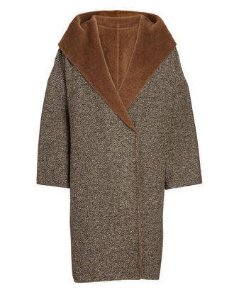 Erba Hooded Tweed Coat, BROWN, hi-res